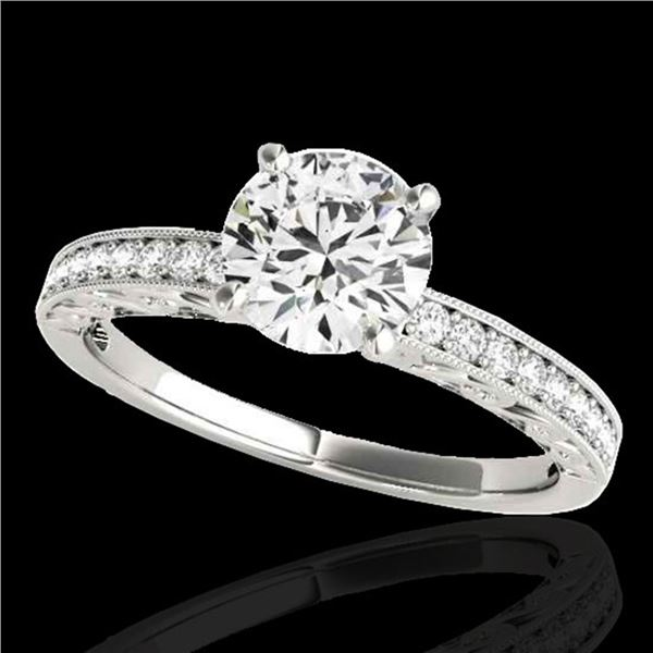 1.43 ctw Certified Diamond Solitaire Antique Ring 10k White Gold - REF-259K3Y