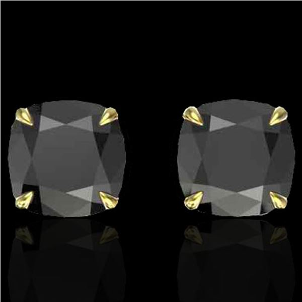 6 ctw Cushion Black Diamond Designer Earrings 18k Yellow Gold - REF-163A6N
