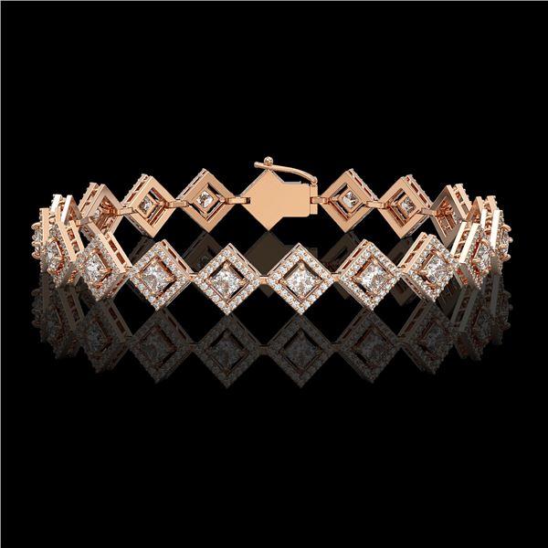 7.2 ctw Princess Cut Diamond Micro Pave Bracelet 18K Rose Gold - REF-617W3H