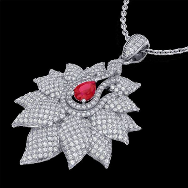 3 ctw Ruby & Micro Pave VS/SI Diamond Necklace 18k White Gold - REF-290Y9X