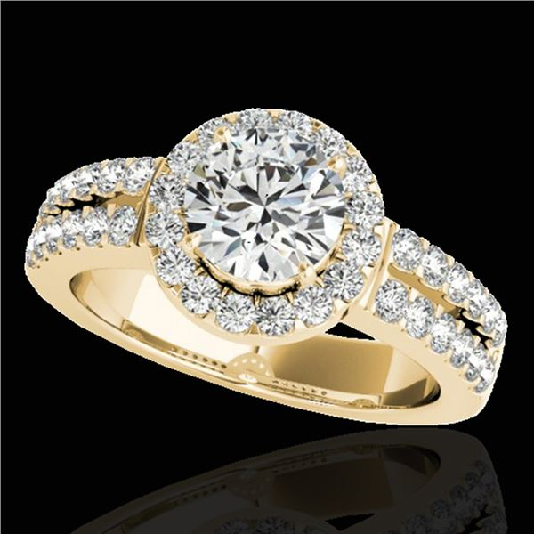 1.5 ctw Certified Diamond Solitaire Halo Ring 10k Yellow Gold - REF-218A2N