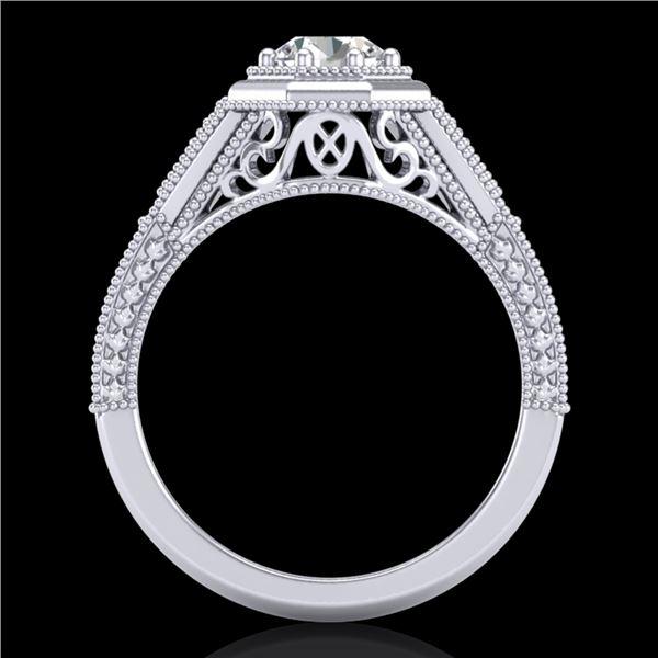 0.84 ctw VS/SI Diamond Solitaire Art Deco Ring 18k White Gold - REF-236F4M