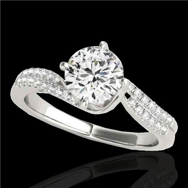 1.2 ctw Certified Diamond Bypass Solitaire Ring 10k White Gold - REF-190N9F