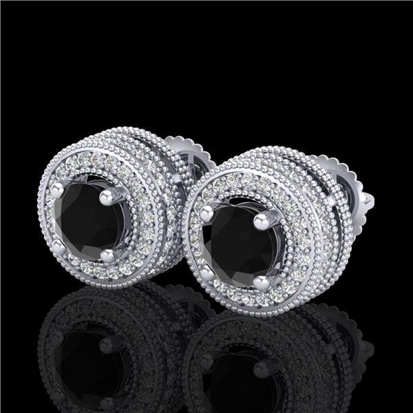 2.09 ctw Fancy Black Diamond Art Deco Stud Earrings 18k White Gold - REF-172A8N