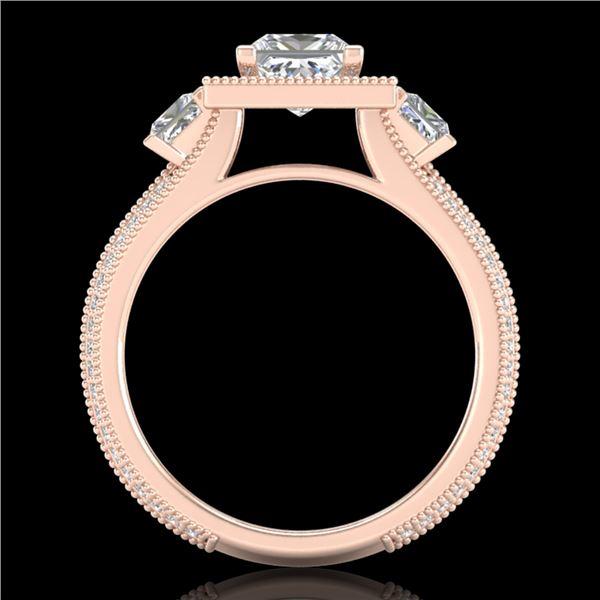 2.5 ctw Princess VS/SI Diamond Micro Pave 3 Stone Ring 18k Rose Gold - REF-527Y3X