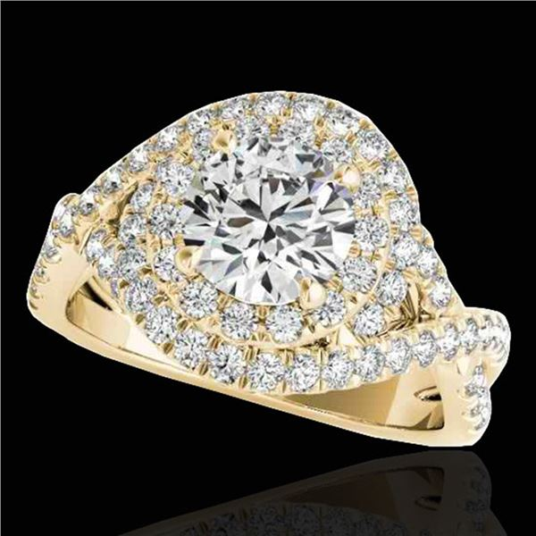 2 ctw Certified Diamond Solitaire Halo Ring 10k Yellow Gold - REF-259R3K