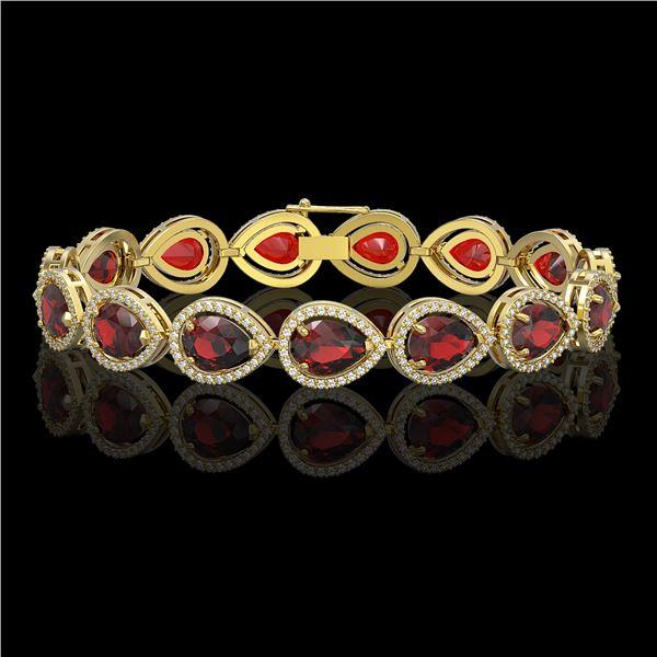 17.45 ctw Garnet & Diamond Micro Pave Halo Bracelet 10k Yellow Gold - REF-283W5H