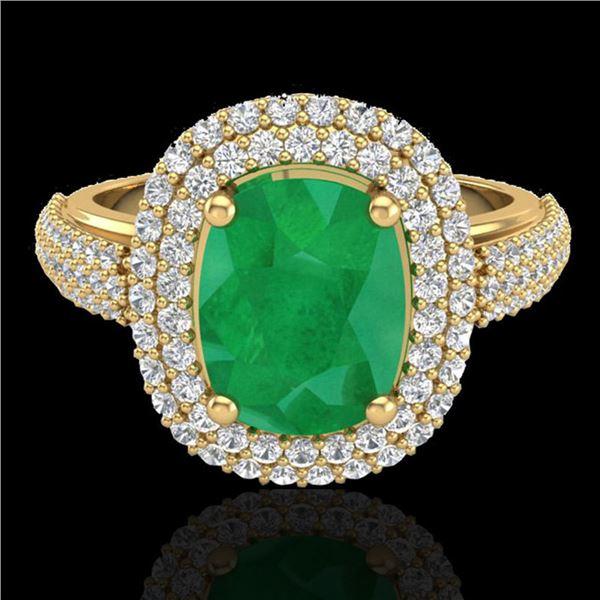 3.50 ctw Emerald & Micro Pave VS/SI Diamond Ring 18k Yellow Gold - REF-143K6Y
