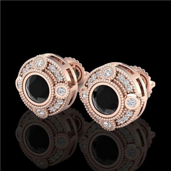 1.5 ctw Fancy Black Diamond Art Deco Stud Earrings 18k Rose Gold - REF-113W6H