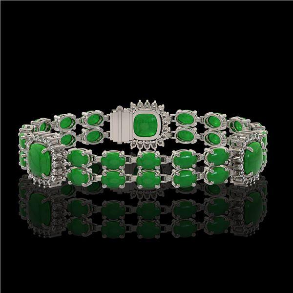 15.79 ctw Jade & Diamond Bracelet 14K White Gold - REF-263X6A