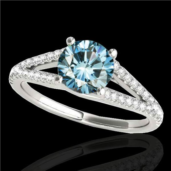 1.25 ctw SI Certified Fancy Blue Diamond Solitaire Ring 10k White Gold - REF-129Y5X