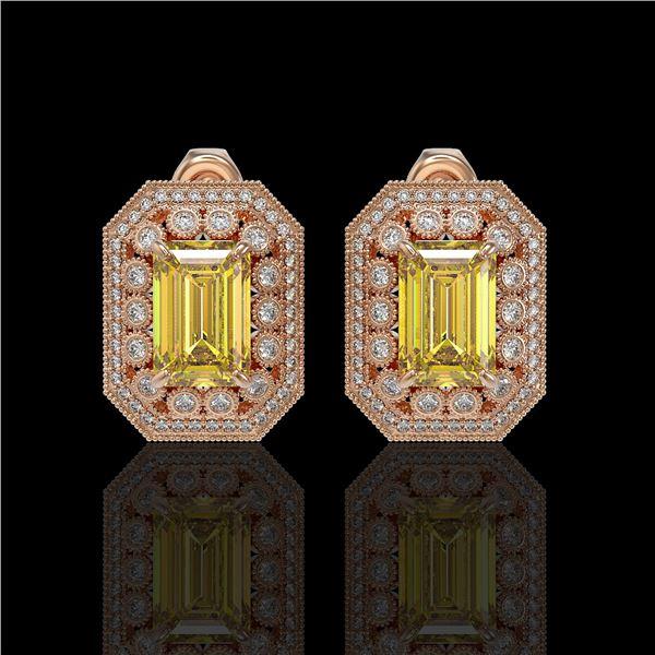 11.03 ctw Canary Citrine & Diamond Victorian Earrings 14K Rose Gold - REF-214R5K