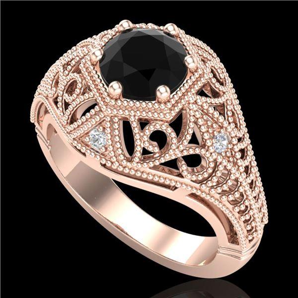1.07 ctw Fancy Black Diamond Engagment Art Deco Ring 18k Rose Gold - REF-85W5H