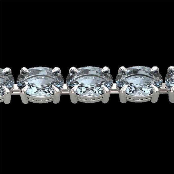 20 ctw Aquamarine Eternity Designer Bracelet 14k White Gold - REF-178R2K