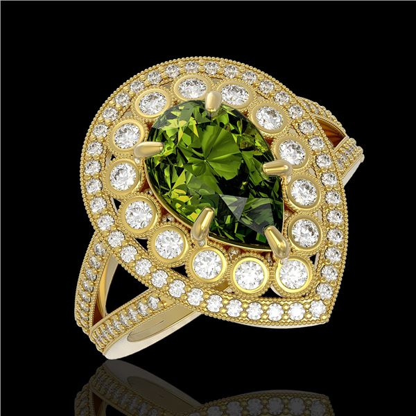 5.02 ctw Certified Tourmaline & Diamond Victorian Ring 14K Yellow Gold - REF-172A8N