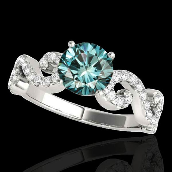 1.4 ctw SI Certified Fancy Blue Diamond Solitaire Ring 10k White Gold - REF-121K8Y