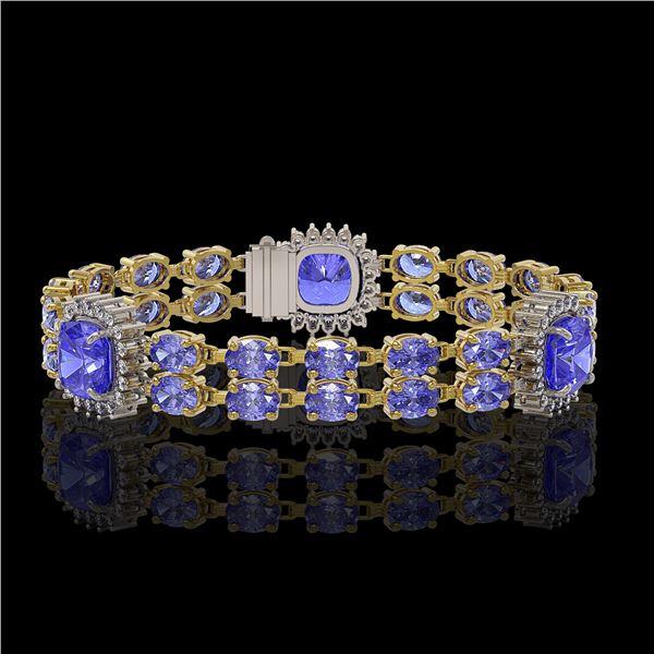 19.6 ctw Tanzanite & Diamond Bracelet 14K Yellow Gold - REF-323F8M