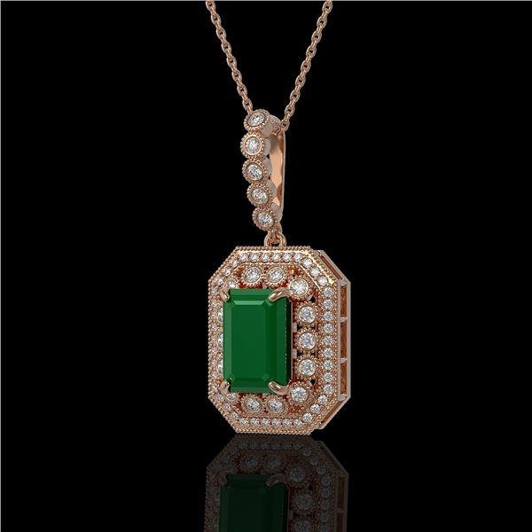 7.18 ctw Certified Emerald & Diamond Victorian Necklace 14K Rose Gold - REF-172G8W