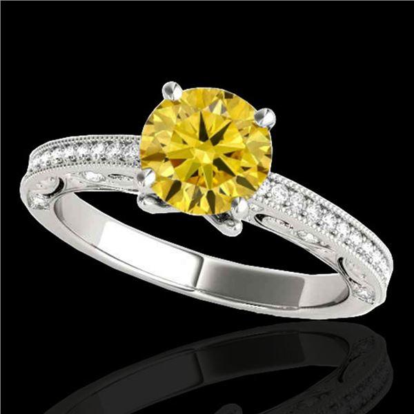 1.25 ctw Certified SI Intense Yellow Diamond Antique Ring 10k White Gold - REF-184H3R