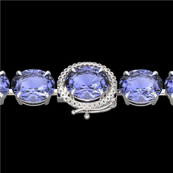 75 ctw Tanzanite & Micro Pave Diamond Bracelet 14k White Gold - REF-1236W4H