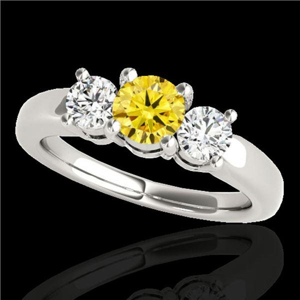 2 ctw SI/I Fancy Intense Yellow Diamond 3 Stone Ring 10k White Gold - REF-262A4N
