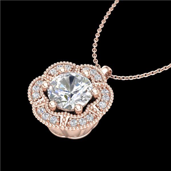 1.01 ctw VS/SI Diamond Solitaire Art Deco Stud Necklace 18k Rose Gold - REF-245W5H