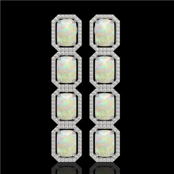 12.99 ctw Opal & Diamond Micro Pave Halo Earrings 10k White Gold - REF-236W4H