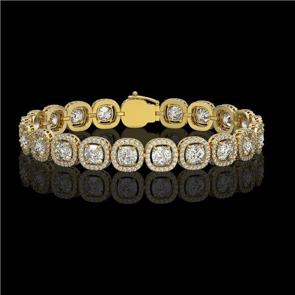 14.41 ctw Cushion Cut Diamond Micro Pave Bracelet 18K Yellow Gold - REF-1976N8F