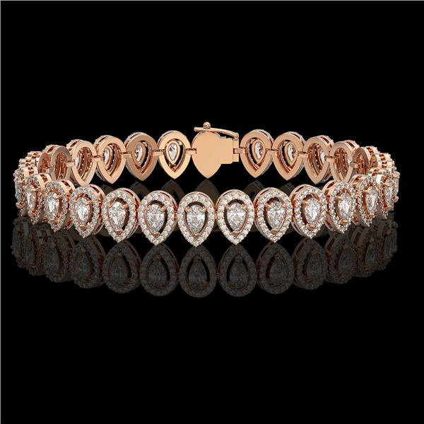 10.36 ctw Pear Cut Diamond Micro Pave Bracelet 18K Rose Gold - REF-898K6Y