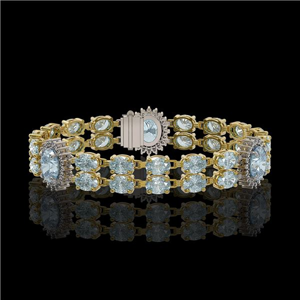15.72 ctw Aquamarine & Diamond Bracelet 14K Yellow Gold - REF-254R5K