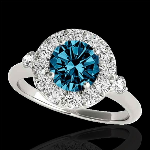 1.5 ctw SI Certified Fancy Blue Diamond Solitaire Halo Ring 10k White Gold - REF-129H5R