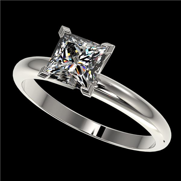 1.25 ctw Certified VS/SI Quality Princess Diamond Ring 10k White Gold - REF-304A6N