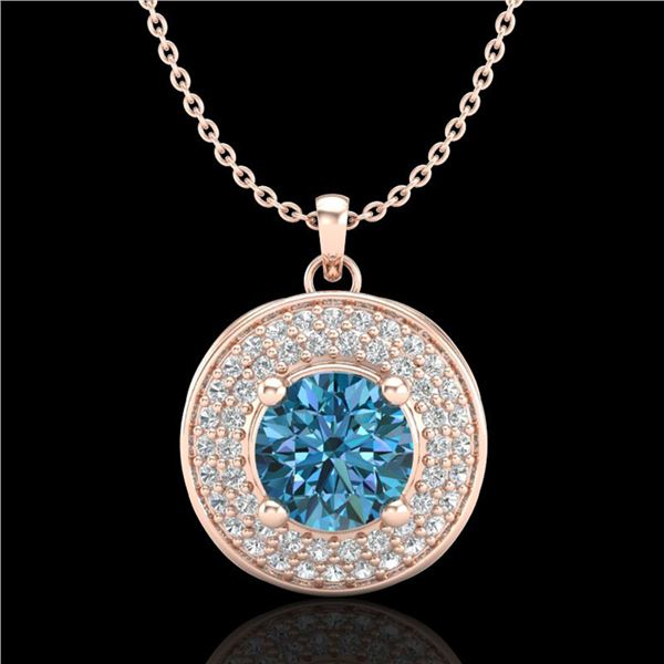 1.25 ctw Fancy Intense Blue Diamond Art Deco Necklace 18k Rose Gold - REF-161R8K