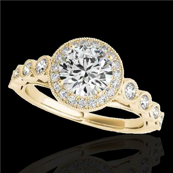 1.50 ctw Certified Diamond Solitaire Halo Ring 10k Yellow Gold - REF-204M5G