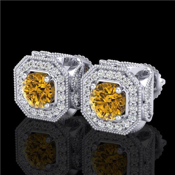 2.75 ctw Intense Fancy Yellow Diamond Art Deco Earrings 18k White Gold - REF-290N9F