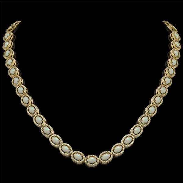 21.21 ctw Opal & Diamond Micro Pave Halo Necklace 10k Yellow Gold - REF-581A8N