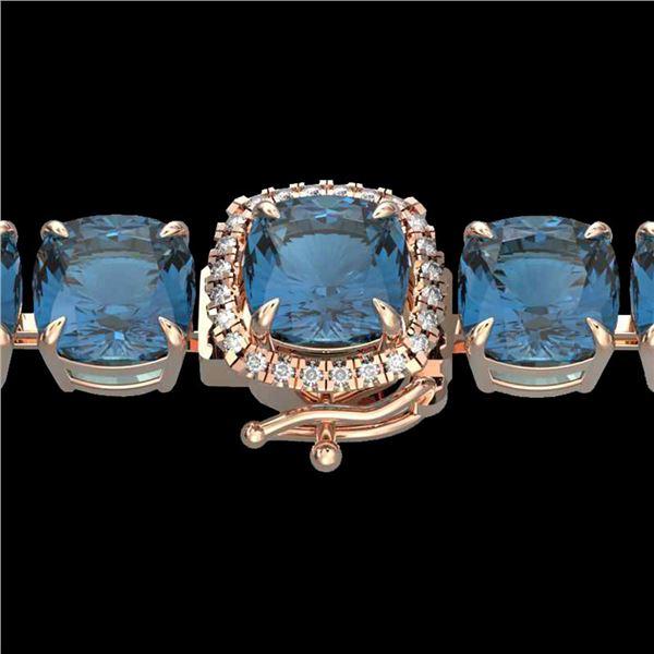 35 ctw London Blue Topaz & Micro Diamond Bracelet 14k Rose Gold - REF-169G3W