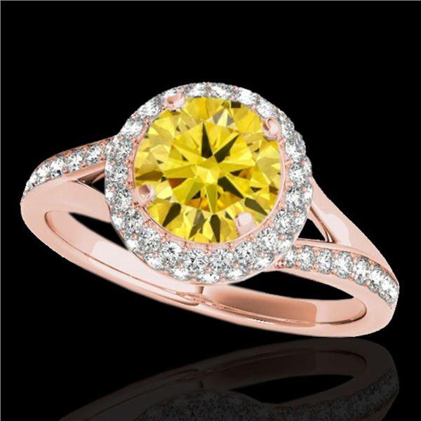 1.85 ctw Certified SI/I Fancy Intense Yellow Diamond Ring 10k Rose Gold - REF-250Y9X