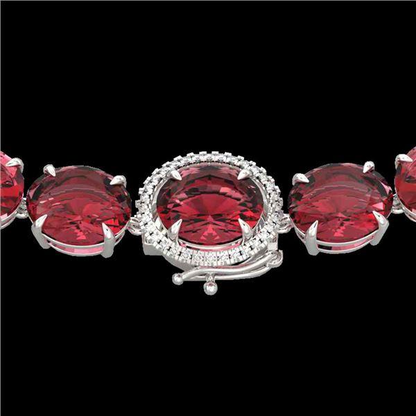 145 ctw Pink Tourmaline & VS/SI Diamond Micro Necklace 14k White Gold - REF-2472G8W