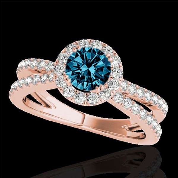 2 ctw SI Certified Blue Diamond Solitaire Halo Ring 10k Rose Gold - REF-173K9Y