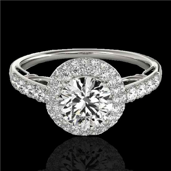 1.65 ctw Certified Diamond Solitaire Halo Ring 10k White Gold - REF-218H2R