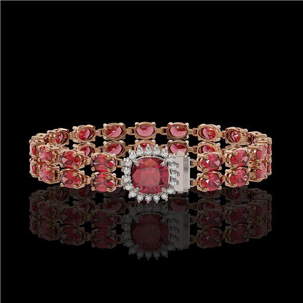 17.35 ctw Tourmaline & Diamond Bracelet 14K Rose Gold - REF-245F5M