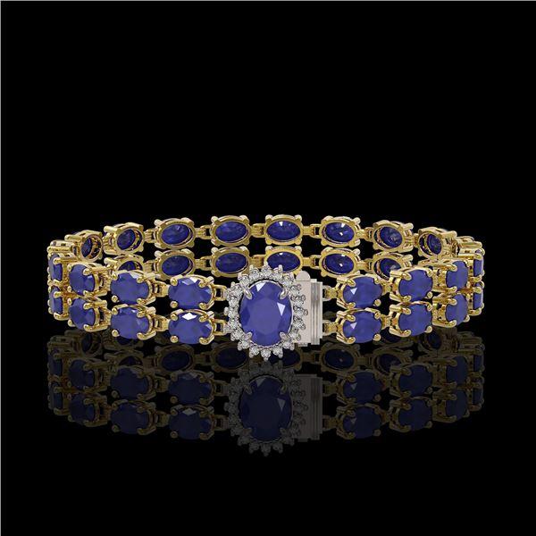 30.12 ctw Sapphire & Diamond Bracelet 14K Yellow Gold - REF-336G4W