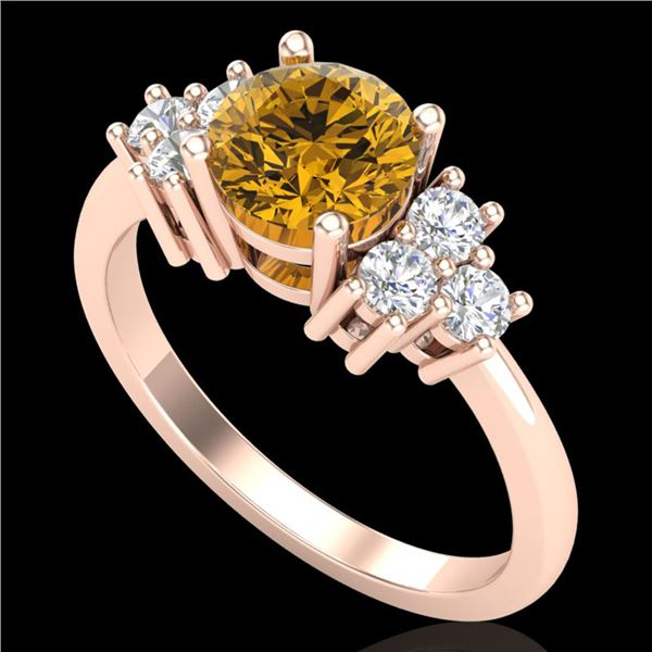 1.25 ctw Intense Fancy Yellow Diamond Art Deco Ring 18k Rose Gold - REF-209Y3X