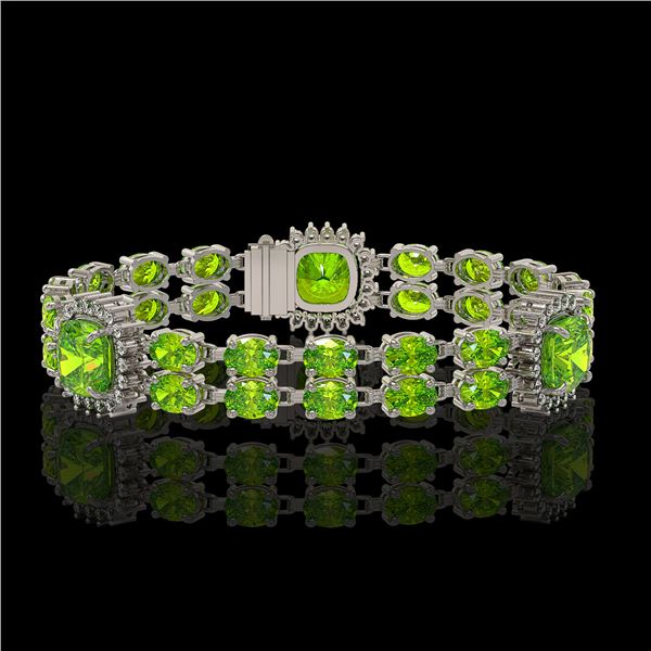 18.93 ctw Peridot & Diamond Bracelet 14K White Gold - REF-259H3R