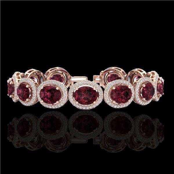 27 ctw Garnet & Micro Pave VS/SI Diamond Certified Bracelet 10k Rose Gold - REF-360R2K