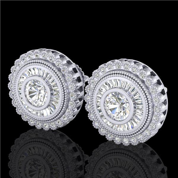 2.61 ctw VS/SI Diamond Solitaire Art Deco Stud Earrings 18k White Gold - REF-381M8G