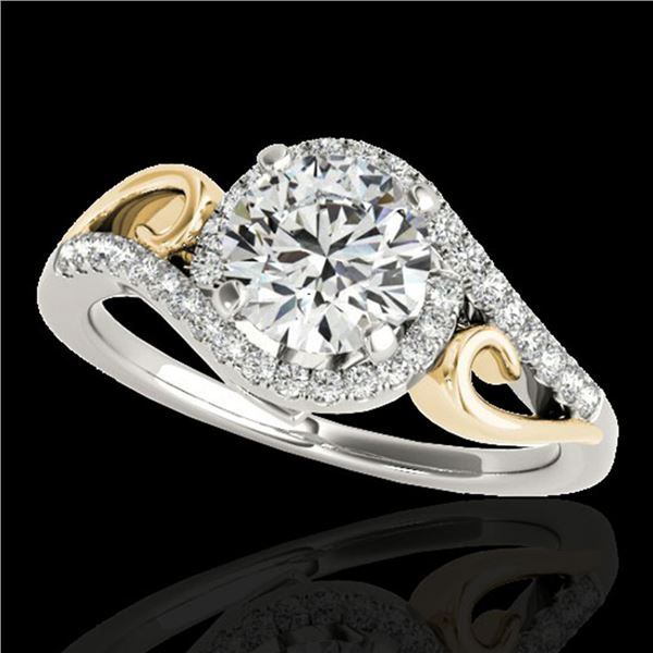 1.25 ctw Certified Diamond Solitaire Halo Ring 10k 2Tone Gold - REF-190H9R