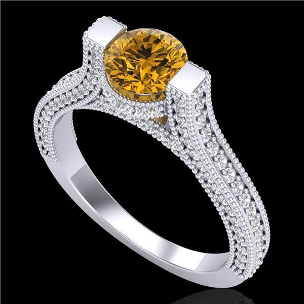 2 ctw Intense Fancy Yellow Diamond Micro Pave Ring 18k White Gold - REF-200Y2X