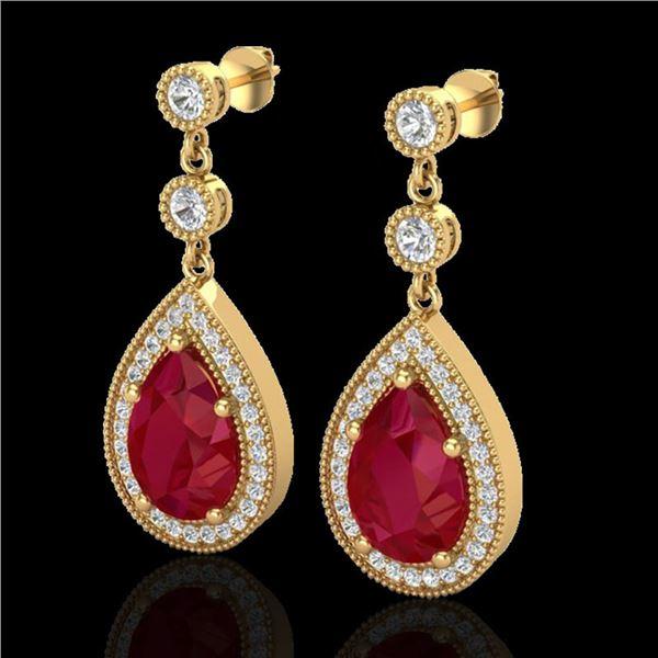 6 ctw Ruby & Micro Pave VS/SI Diamond Earrings Designer 18k Yellow Gold - REF-100R2K